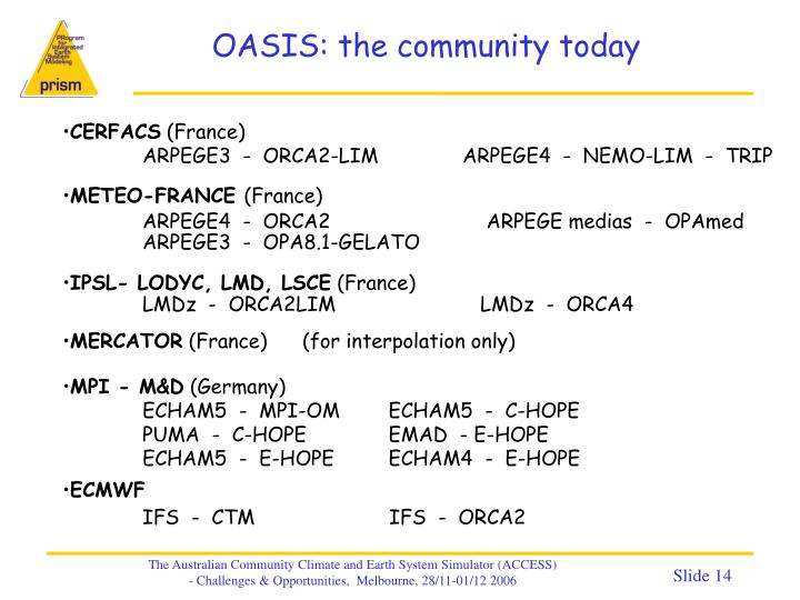 OASIS: the community today