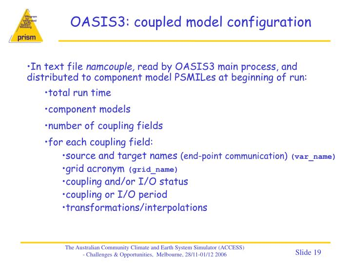 OASIS3: coupled model configuration