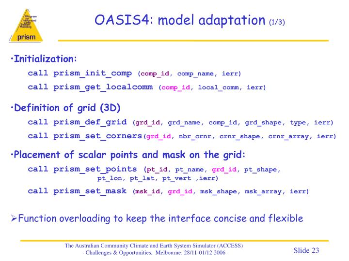 OASIS4: model adaptation