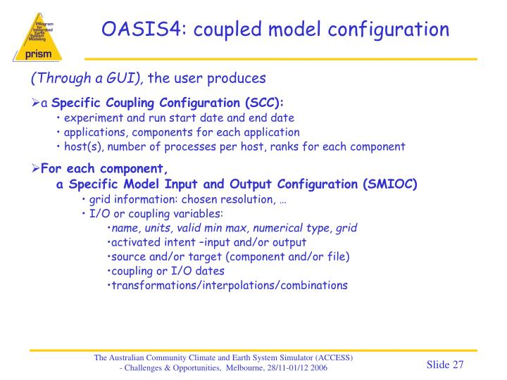 OASIS4: coupled model configuration