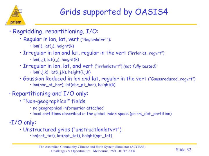 Grids supported by OASIS4
