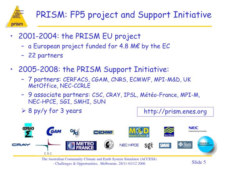 PRISM: FP5 project and Support Initiative