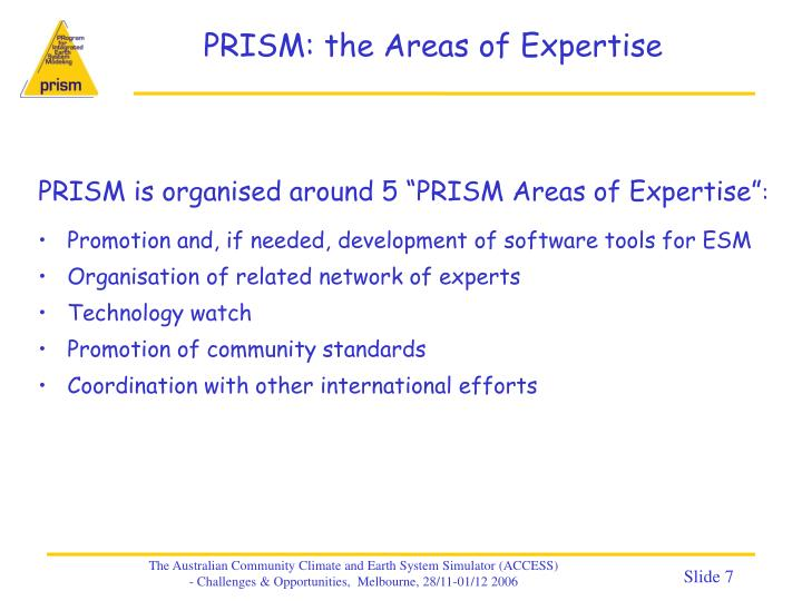 PRISM: the Areas of Expertise
