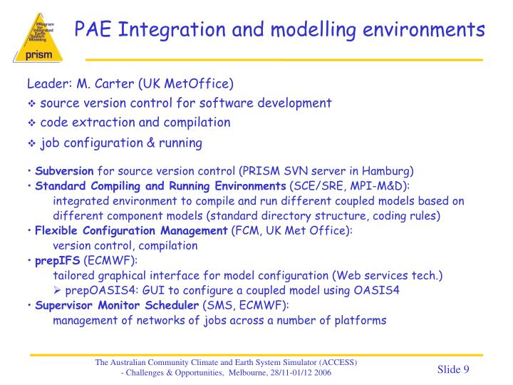 PAE Integration and modelling environments