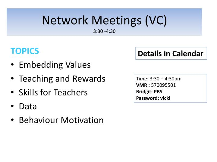 Network Meetings (VC)
