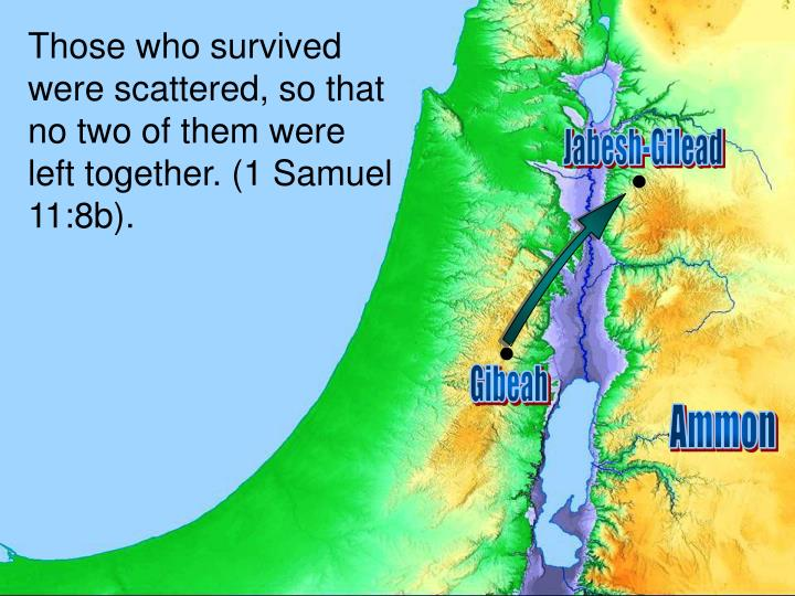 Those who survived were scattered, so that no two of them were left together. (1 Samuel 11:8b).