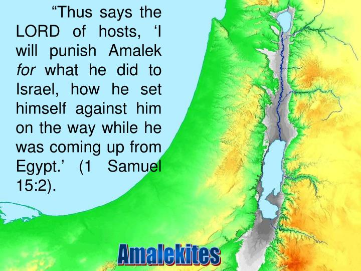 """Thus says the LORD of hosts, 'I will punish Amalek"