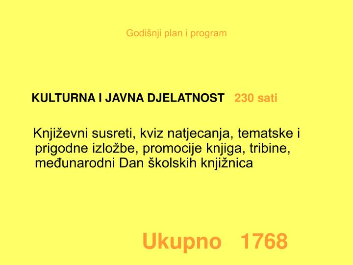 Godišnji plan i program