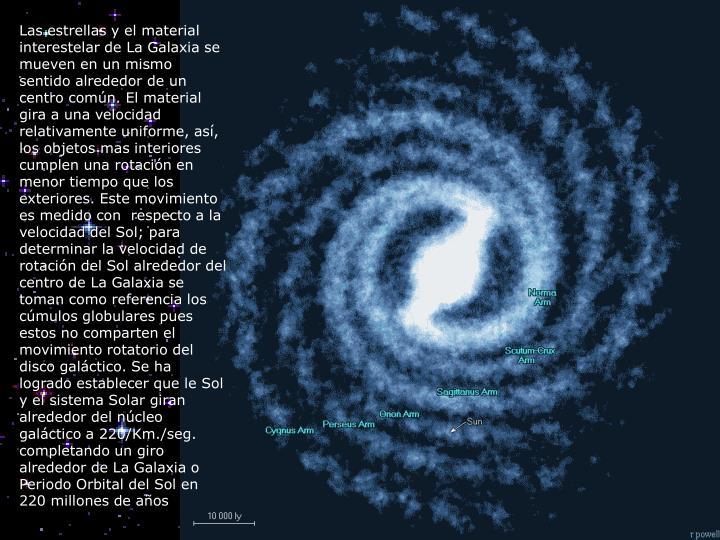 Las estrellas y el material interestelar de La Galaxia se mueven en un mismo sentido alrededor de un centro común. El material gira a una velocidad relativamente uniforme, así, los objetos mas interiores cumplen una rotación en menor tiempo que los exteriores. Este movimiento es medido con respecto a la velocidad del Sol; para determinar la velocidad de rotación del Sol alrededor del centro de La Galaxia se toman como referencia los cúmulos globulares pues estos no comparten el movimiento rotatorio del disco galáctico. Se ha logrado establecer que le Sol y el sistema Solar giran alrededor del núcleo galáctico a 220/Km./seg. completando un giro alrededor de La Galaxia o Periodo Orbital del Sol en 220 millones de años