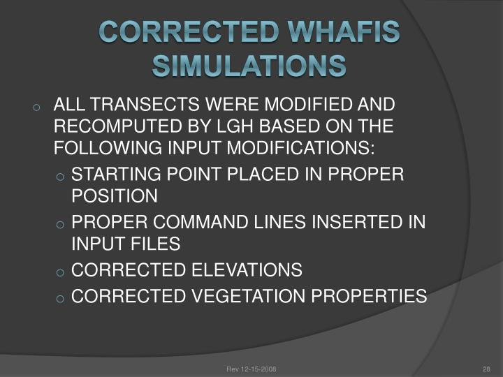 CORRECTED WHAFIS SIMULATIONS