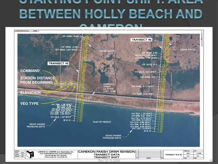 STARTING POINT SHIFT: AREA BETWEEN HOLLY BEACH AND CAMERON