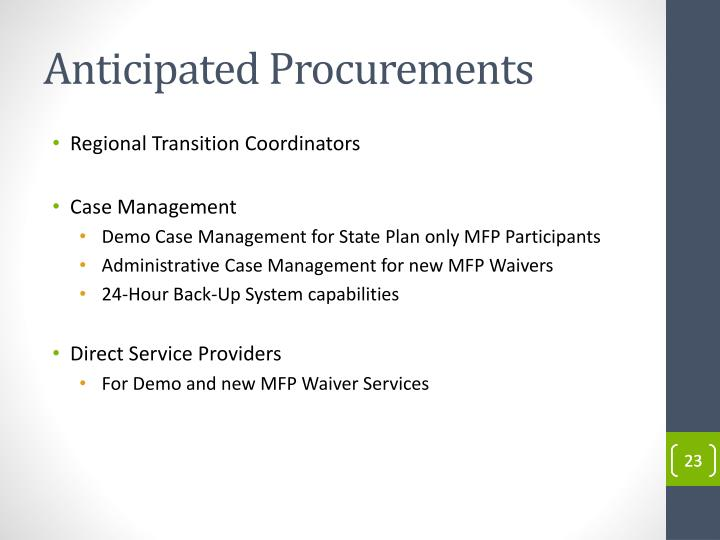 Anticipated Procurements