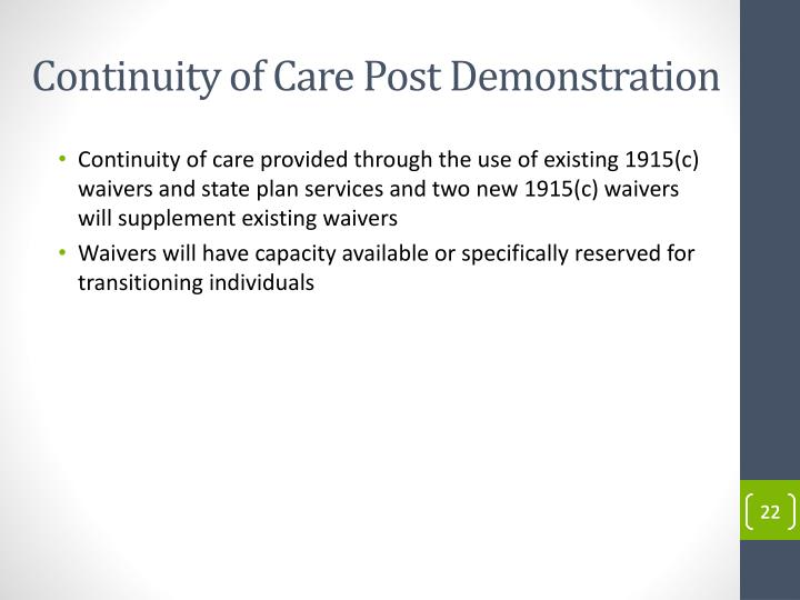 Continuity of Care Post Demonstration