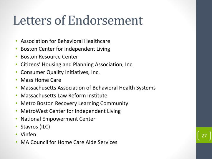 Letters of Endorsement