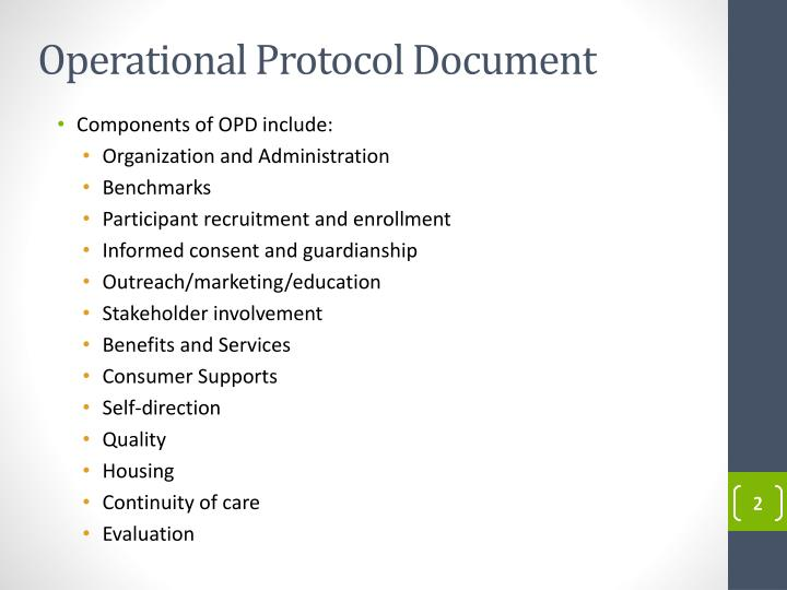Operational protocol document