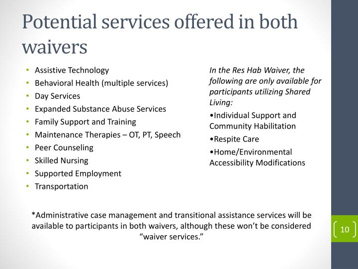 Potential services offered in both waivers