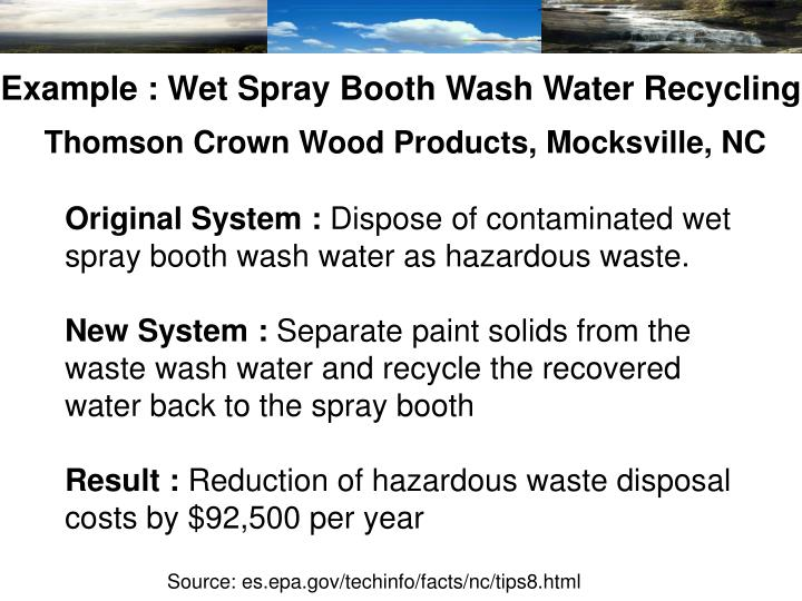 Example : Wet Spray Booth Wash Water Recycling