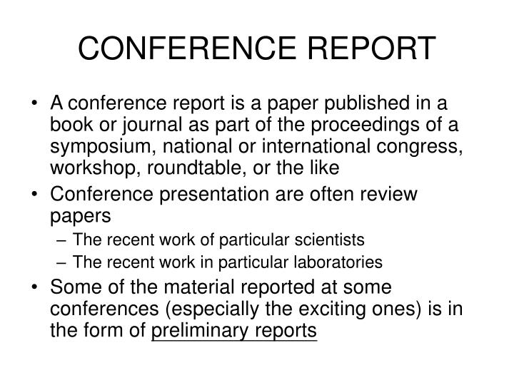 CONFERENCE REPORT