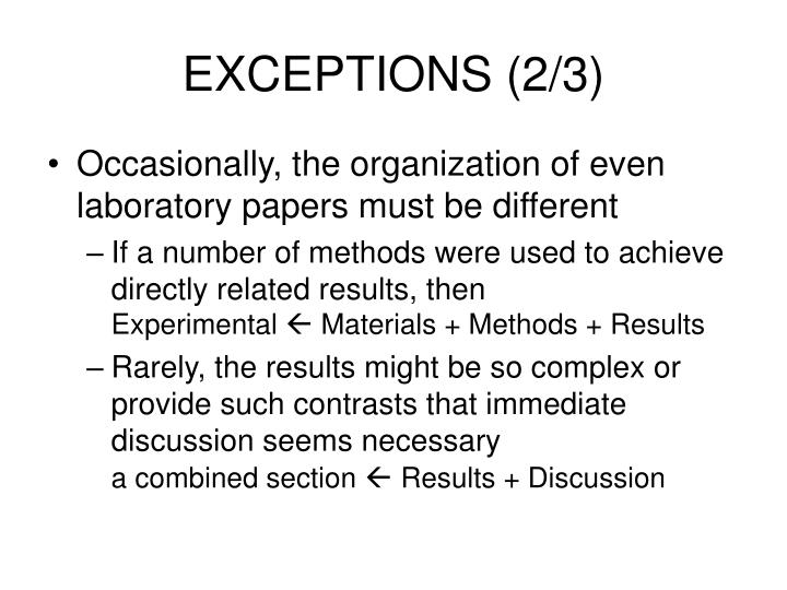 EXCEPTIONS (2/3)