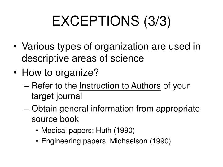 EXCEPTIONS (3/3)
