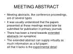 meeting abstract