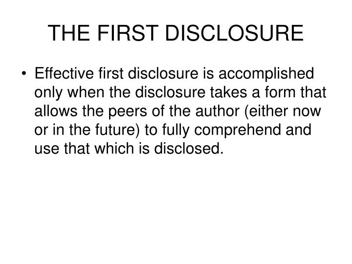 THE FIRST DISCLOSURE