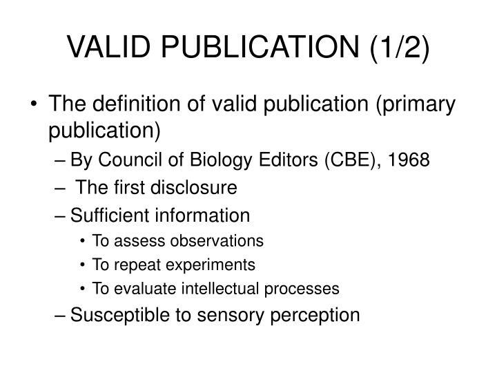 VALID PUBLICATION (1/2)