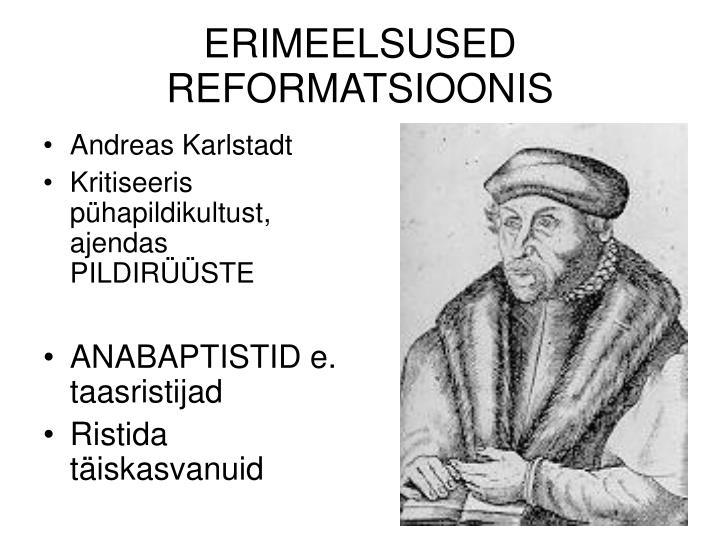ERIMEELSUSED REFORMATSIOONIS