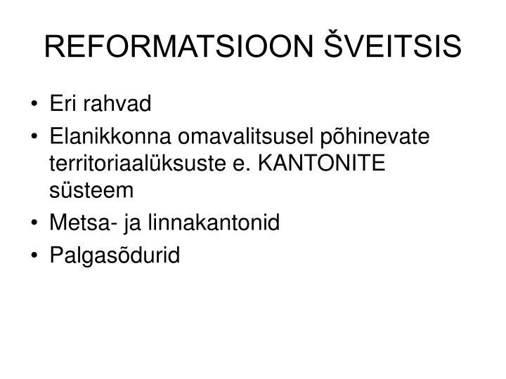 REFORMATSIOON ŠVEITSIS