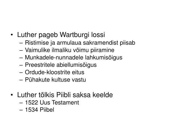 Luther pageb Wartburgi lossi