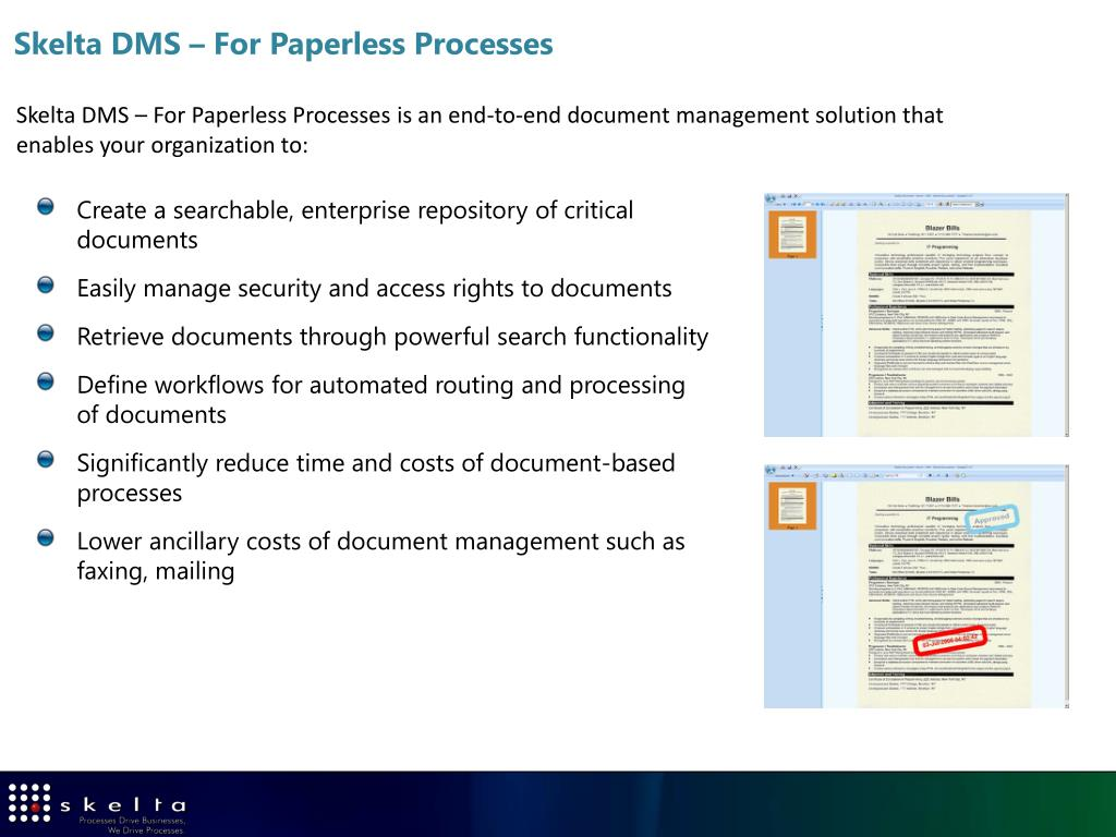 Skelta DMS – For Paperless Processes