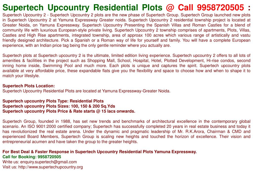 Supertech Upcountry Residential Plots