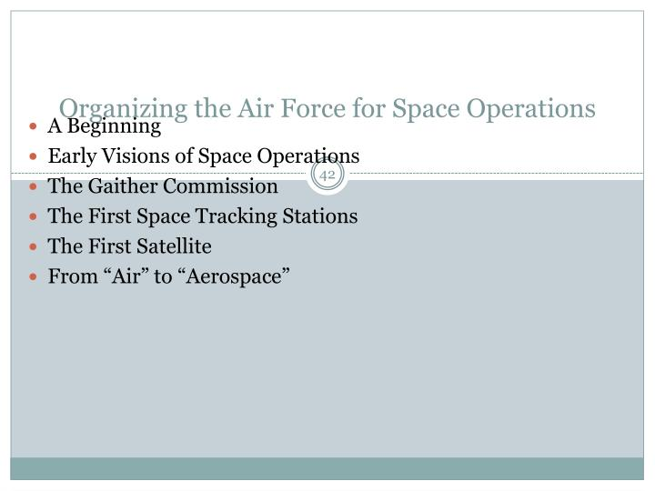 Organizing the Air Force for Space Operations