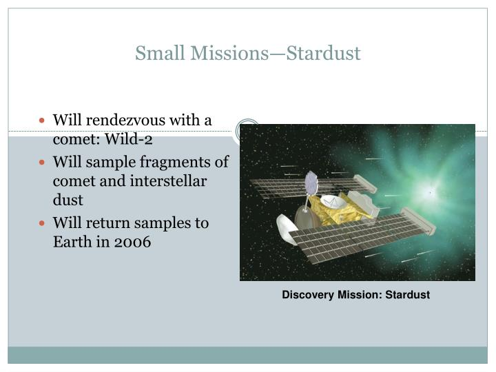Small Missions—Stardust