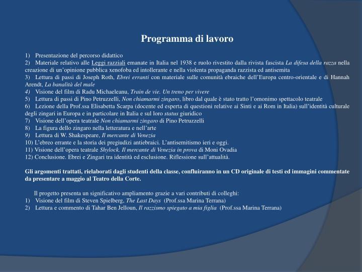 Programma di lavoro