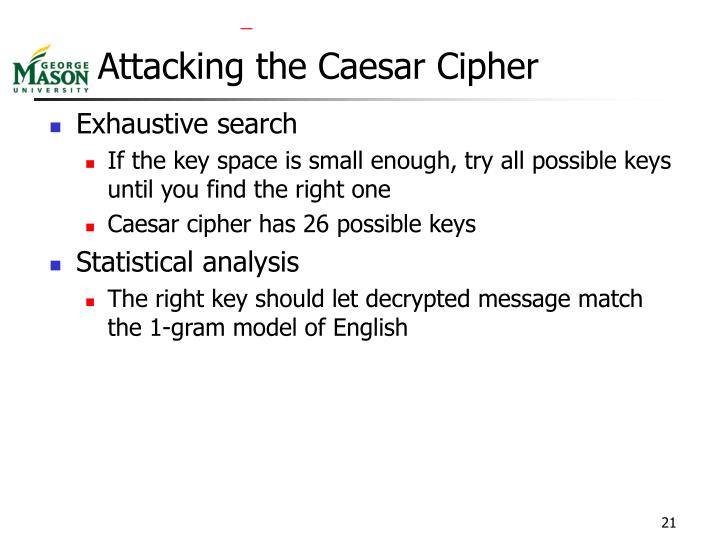 Attacking the Caesar Cipher