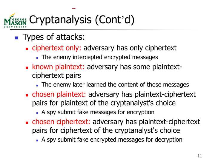 Cryptanalysis (Cont
