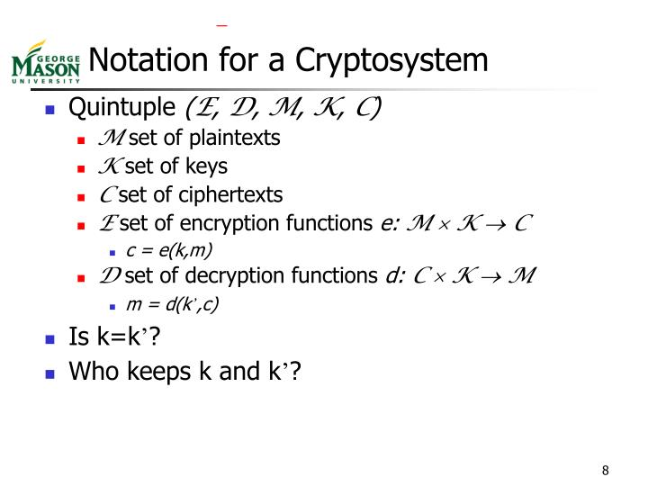 Notation for a Cryptosystem