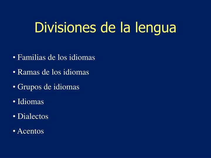 Divisiones de la lengua