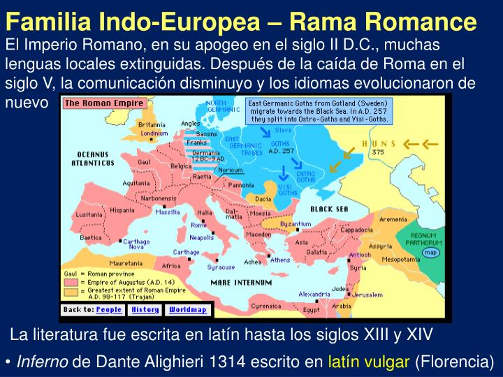 El Imperio Romano, en su apogeo en el siglo II D.C., muchas lenguas locales extinguidas. Después de la caída de Roma en el siglo V, la comunicación disminuyo y los idiomas evolucionaron de nuevo