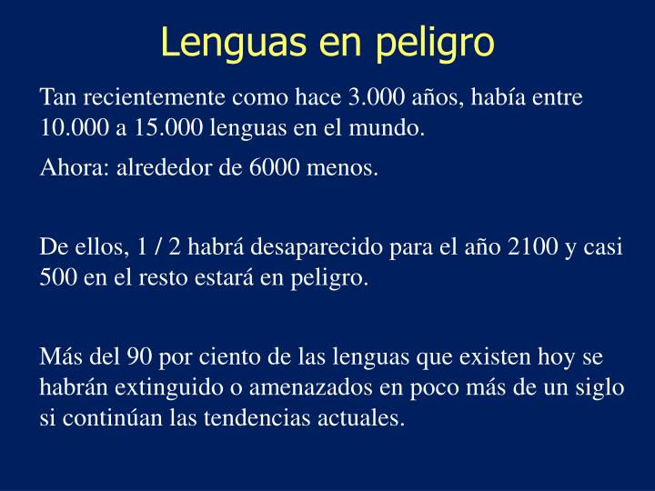 Lenguas en peligro