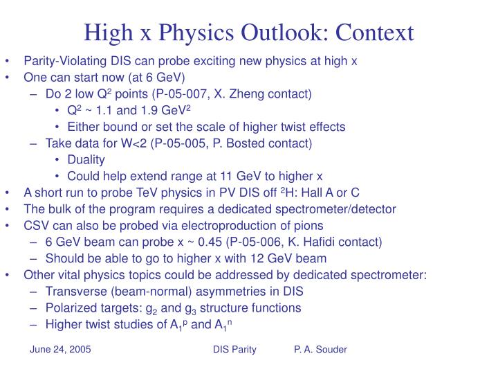 High x Physics Outlook: Context