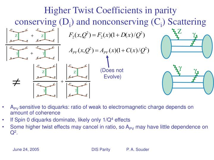 Higher Twist Coefficients in parity