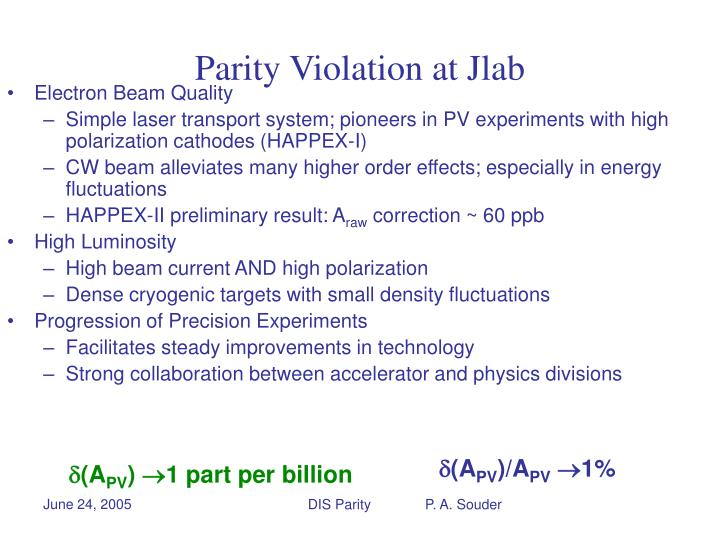 Parity Violation at Jlab