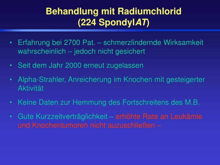 Behandlung mit Radiumchlorid