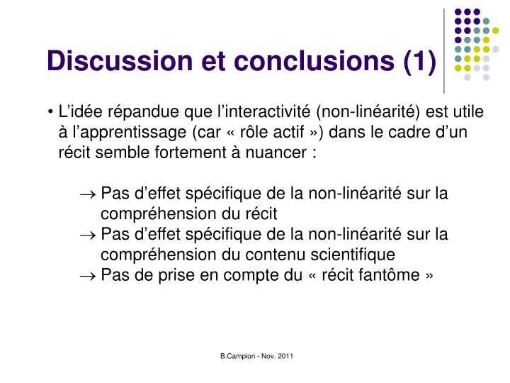 Discussion et conclusions (1)