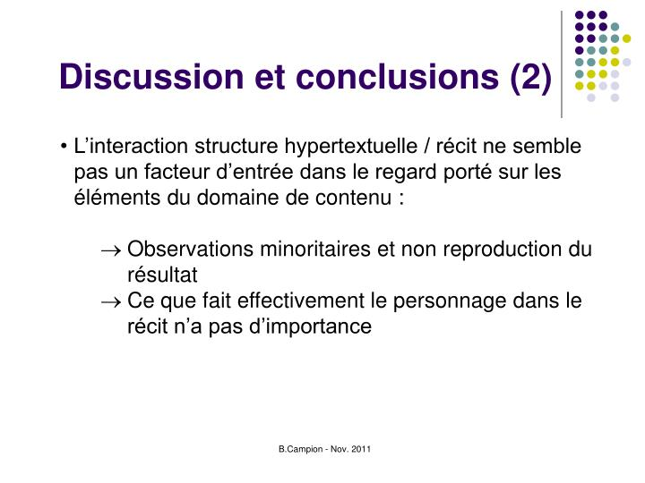 Discussion et conclusions (2)