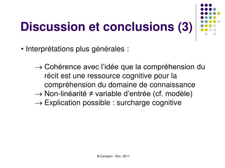 Discussion et conclusions (3)