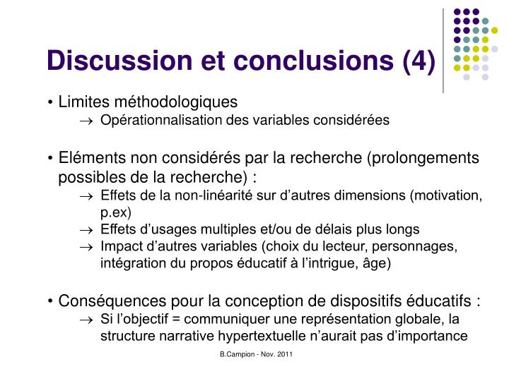 Discussion et conclusions (4)