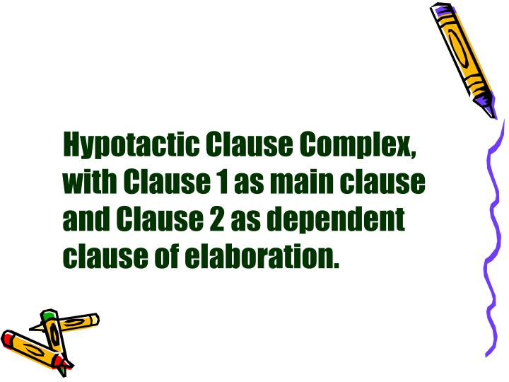 Hypotactic Clause Complex, with Clause 1 as main clause and Clause 2 as dependent clause of elaboration.